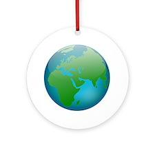 Circular Earth Globe Round Ornament