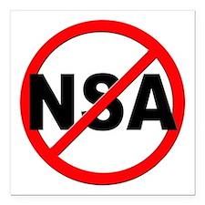 "Anti / No NSA Square Car Magnet 3"" x 3"""