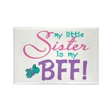 Little Sister BFF Butterfly Rectangle Magnet