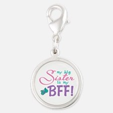 Butterfly Big Sister BFF Silver Round Charm
