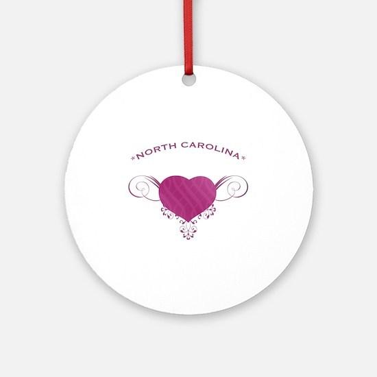 North Carolina State (Heart) Gifts Ornament (Round