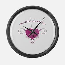North Dakota State (Heart) Gifts Large Wall Clock