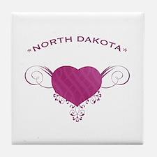 North Dakota State (Heart) Gifts Tile Coaster