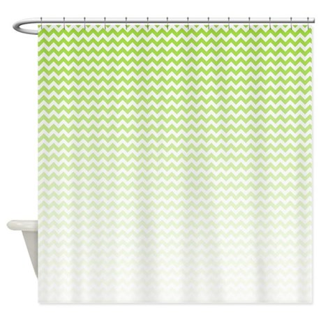 Green Ombre Chevron Shower Curtain By Bwcdesigns
