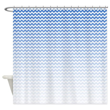 Blue Ombre Chevron Shower Curtain By Bwcdesigns
