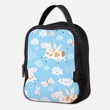 Whimsical Flying Cows Neoprene Lunch Bag