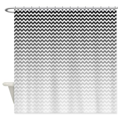 Black And White Ombre Chevron Shower Curtain By BWCDesigns
