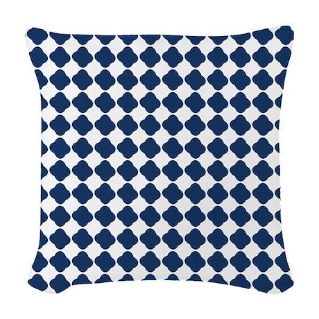 Navy Quatrefoil Pattern Woven Throw Pillow by FamilyFunShoppe