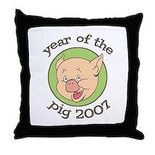 2007 Year of Pig Cartoon Throw Pillow