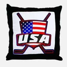 American Hockey Shield Logo Throw Pillow