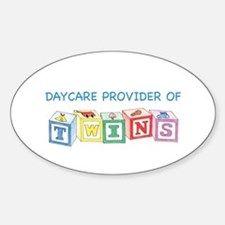Daycare Provider of Twins Oval Decal