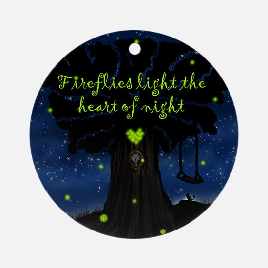 Fireflies light the heart of night Ornament (Round