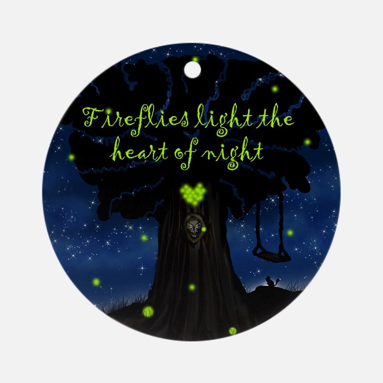 Fireflies light the heart of night Ornament (Round