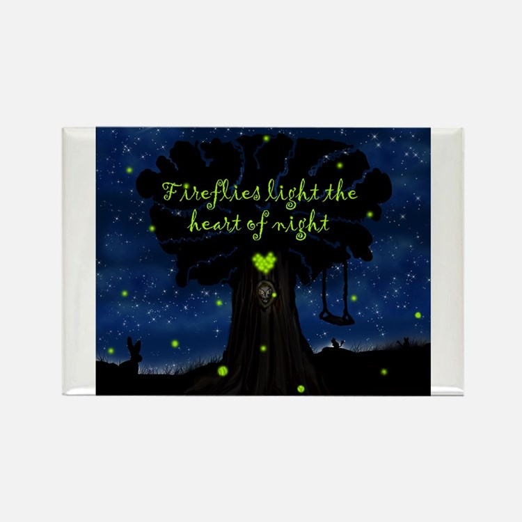 Fireflies light the heart of night Rectangle Magne