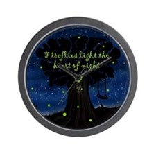Fireflies light the heart of night Wall Clock
