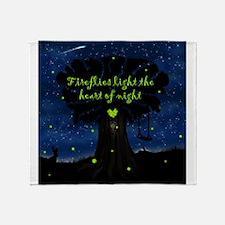 Fireflies light the heart of night Throw Blanket