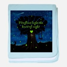 Fireflies light the heart of night baby blanket