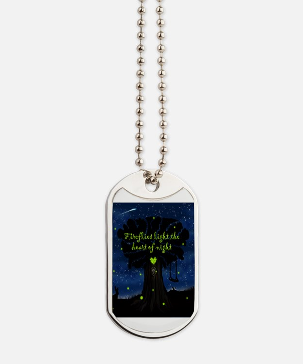 Fireflies light the heart of night Dog Tags