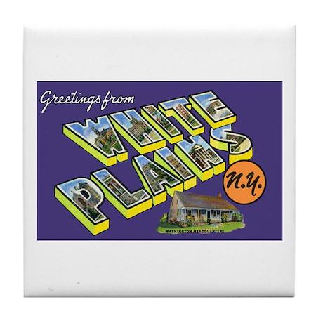 White Plains New York Greetings Tile Coaster