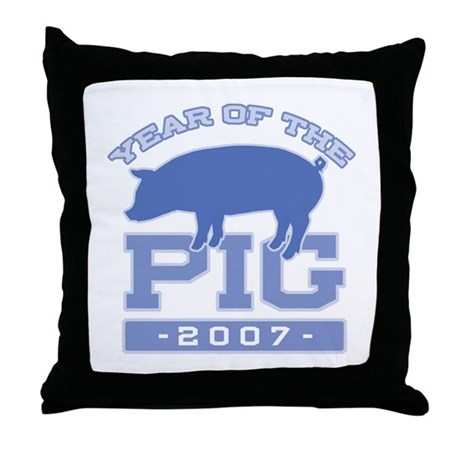 Collegiate Year of Pig Throw Pillow