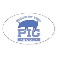 Collegiate Year of Pig Oval Decal