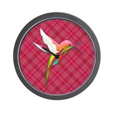 Pink Plaid Hummingbird Wall Clock