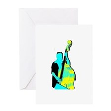 Upright Bass Player Yellow Blue Greeting Card