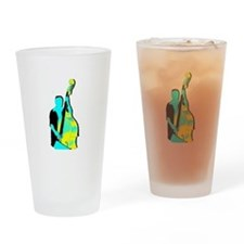 Upright Bass Player Yellow Blue Drinking Glass