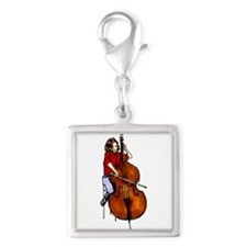 Girl playing orchestra bass red shirt Charms