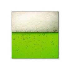 """Green Beer Picture Square Sticker 3"""" x 3"""""""