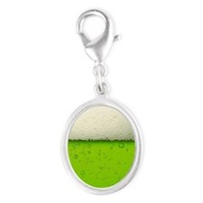 Green Beer Picture Silver Oval Charm