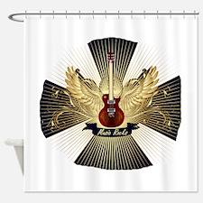 Music rocks blue pattern red guitar Shower Curtain