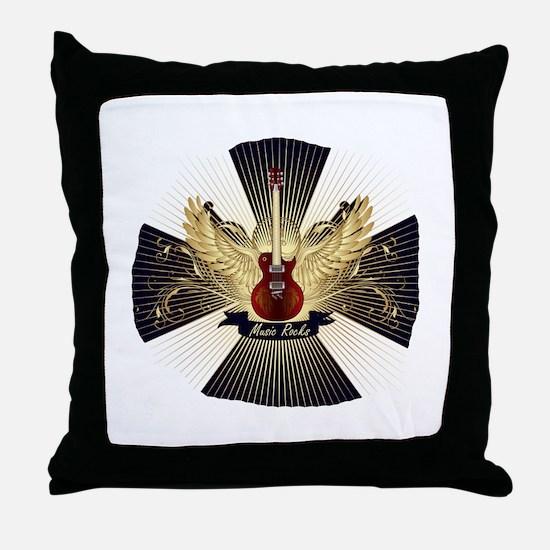 Music rocks blue pattern red guitar Throw Pillow