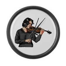 Violin female player grey shirt Large Wall Clock