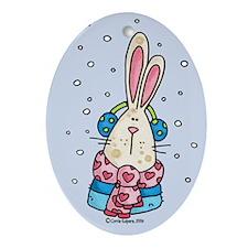 Winter Bunny Oval Ornament
