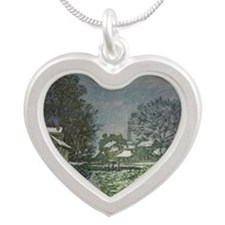 Snow at Argenteuil II by Cla Silver Heart Necklace