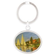 Regatta at Argenteuil by Claude Mone Oval Keychain