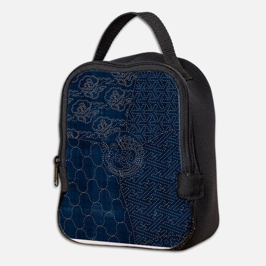 Sashiko-style Embroidery Neoprene Lunch Bag