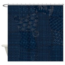 Sashiko-style Embroidery Shower Curtain