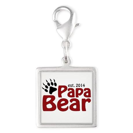 Papa Bear New Dad 2014 Silver Square Charm