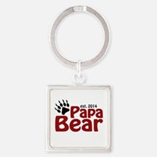 Papa Bear New Dad 2014 Square Keychain