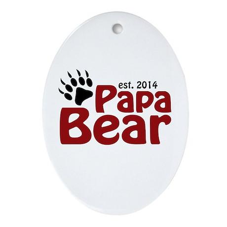 Papa Bear New Dad 2014 Ornament (Oval)