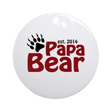 Papa Bear New Dad 2014 Ornament (Round)