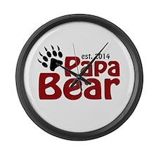 Papa Bear New Dad 2014 Large Wall Clock
