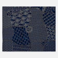 Sashiko-style Embroidery King Duvet