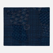 Sashiko-style Embroidery Throw Blanket