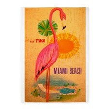 Miami Beach, Flamingo, Vintage Poster 5'x7'Area Ru
