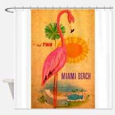 Miami Beach, Flamingo, Vintage Poster Shower Curta