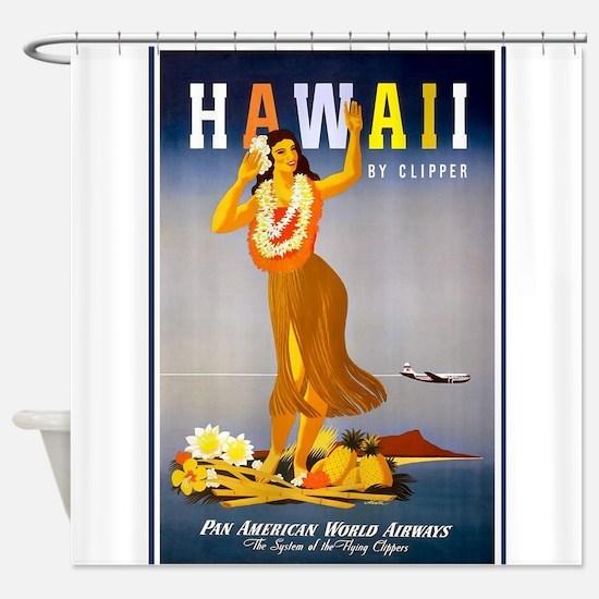 Hawaii, Hula, Travel, Vintage Poster Shower Curtai