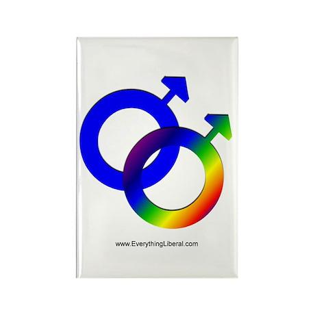 Gay Men Rainbow Symbol Rectangle Magnet (100 pack)